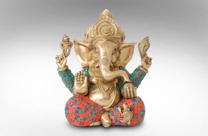 Picture of Ganesh With Flower Stone