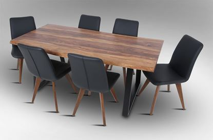 Picture of Rio 2000 Dining Table with 6 Hilton Leather Dining Chairs Black
