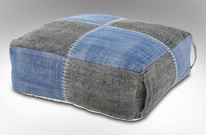 Picture of Blue Checked Ottoman