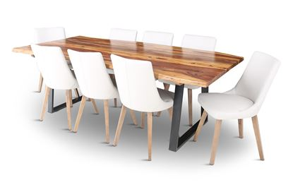 Picture of Rio 2300 Dining Table with 8 Lincoln Leather Dining Chair Beach