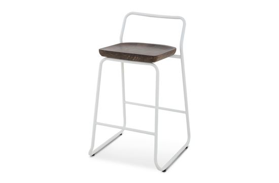 Picture of Bentley Barstool 65cm White Frame With Mocha Seat