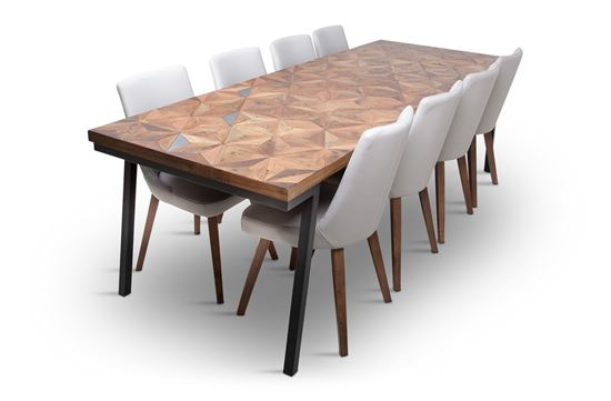 Picture of Phoenix 2500 Dining Table With 8 Lincoln Leather Dining Chair Beach
