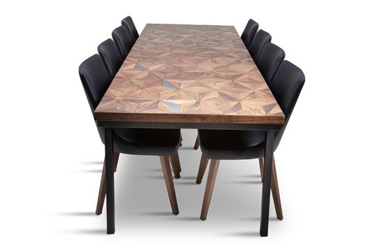 Picture of Phoenix 2500 Dining Table With 8 Lincoln Leather Dining Chair Black
