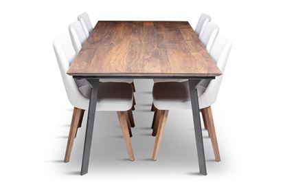 Picture of California 2100 Dining Table With 6 Lincoln Leather Dining Chair Beach