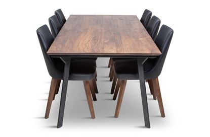 Picture of California 2100 Dining Table With 6 Lincoln Leather Dining Chair Black