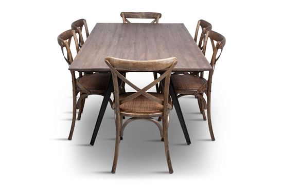 Picture of Manhattan 1800 Dining Table (Soft Sand) With 6 Chelsea Dining Chair