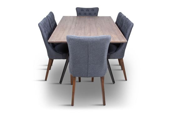 Picture of Manhattan 1800 Dining Table (Soft Sand) With 6 Paris Dining Chair