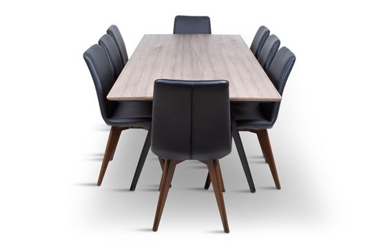 Picture of Manhattan 2300 Dining Table (Soft Sand) With 8 Hilton Leather Dining Chair Black