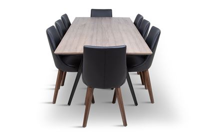 Picture of Manhattan 2300 Dining Table (Soft Sand) With 8 Lincoln Leather Dining Chair Black