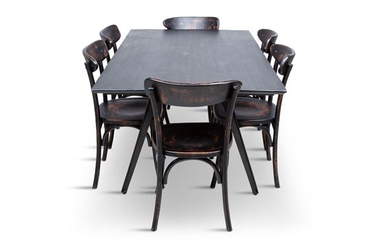Picture of Manhattan 1800 Dining Table (Dark Ancient) With 6 Benson Dining Chair
