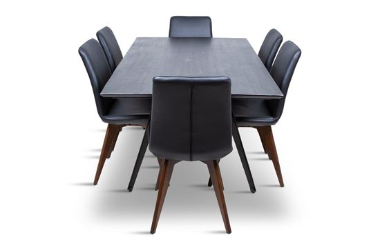 Picture of Manhattan 1800 Dining Table (Dark Ancient) With 6 Hilton Leather Dining Chair Black
