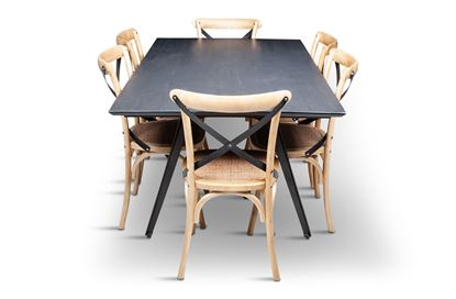 Picture of Manhattan 1800 Dining Table (Dark Ancient) With 6 Lexi Dining Chair