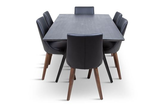 Picture of Manhattan 1800 Dining Table (Dark Ancient) With 6 Lincoln Leather Dining Chair Black