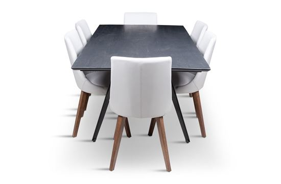Picture of Manhattan 1800 Dining Table (Dark Ancient) With 6 Lincoln Leather Dining Chairs Beach