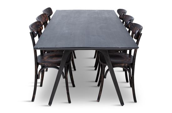 Picture of Manhattan 2300 Dining Table (Dark Ancient) With 6 Benson Dining Chair