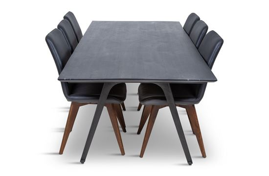 Picture of Manhattan 2300 Dining Table (Dark Ancient) With 6 Hilton Leather Dining Chair Black