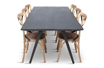 Picture of Manhattan 2300 Dining Table (Dark Ancient) With 6 Lexi Dining Chair