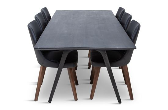 Picture of Manhattan 2300 Dining Table (Dark Ancient) With 6 Lincoln Leather Dining Chair Black