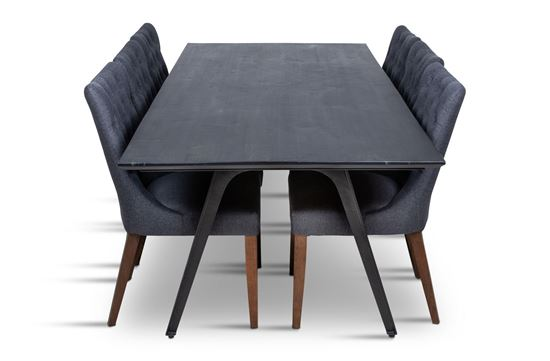 Picture of Manhattan 2300 Dining Table (Dark Ancient) With 6 Paris Dining Chair