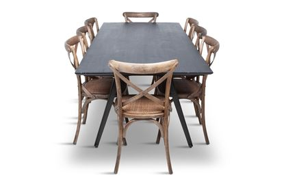 Picture of Manhattan 2300 Dining Table (Dark Ancient) With 8 Chelsea Dining Chair