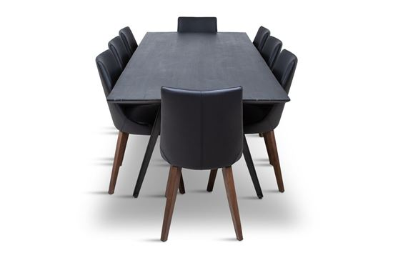 Picture of Manhattan 2300 Dining Table (Dark Ancient) With 8 Lincoln Leather Dining Chair Black