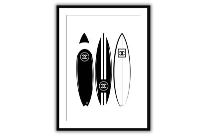 Picture of Three Chanel boards 90 x 120 - Only hang this print from the hooks, not the string. The String is only to assist in hanging.