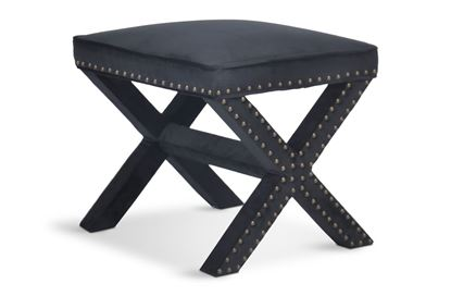 Picture of Bentley Black Cross Stool Antique Gold